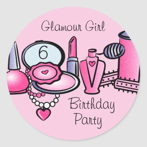 Glamour Girl Birthday Stickers
