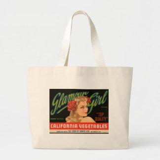 Glamour Girl California Vegetables Vintage Ad Large Tote Bag