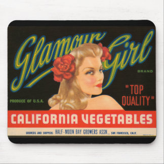 Glamour Girl California Vegetables Vintage Ad Mouse Mat