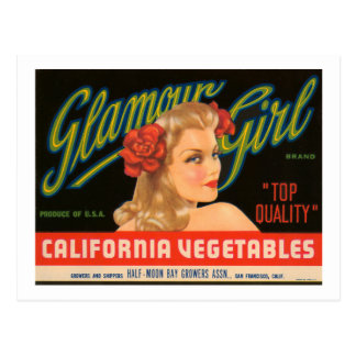 Glamour Girl California Vegetables Vintage Ad Postcard