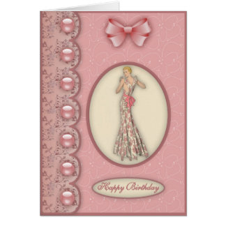 Glamour Girl in Pink - Birthday Card