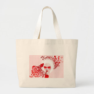 glamour girl in sunglass large tote bag