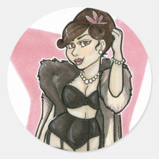 Glamour Girl Sticker Round Sticker