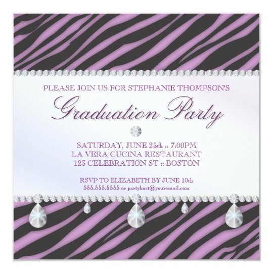 Glamour Girl Zebra and Diamond Graduation Party Card