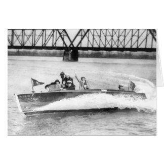 Glamour Girls in Speed Boat Greeting Card