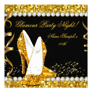 Glamour Glam Glitz Party Night Gold High Heels 13 Cm X 13 Cm Square Invitation Card