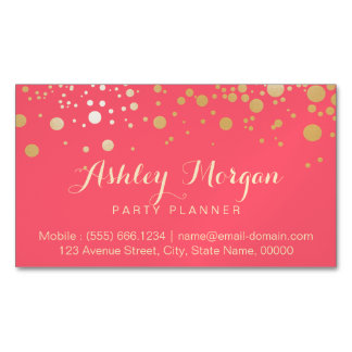 Glamour Gold Dots Decor - Charming Pink Coral Magnetic Business Cards