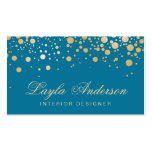 Glamour Gold Dots Decor - Classy Peacock Blue Pack Of Standard Business Cards