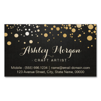 Glamour Gold Dots Decor - Stylish Dark Linen Look Magnetic Business Cards