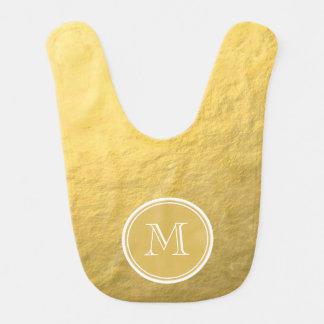 Glamour Gold Foil Background Monogram Baby Bibs
