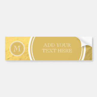 Glamour Gold Foil Background Monogram Car Bumper Sticker
