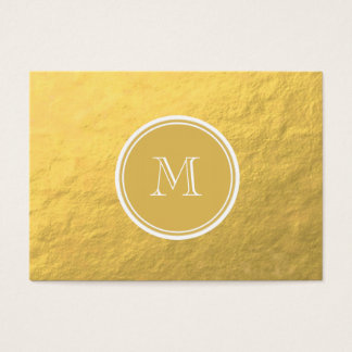 Glamour Gold Foil Background Monogram Business Card
