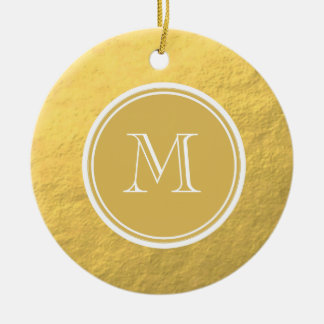 Glamour Gold Foil Background Monogram Christmas Ornament