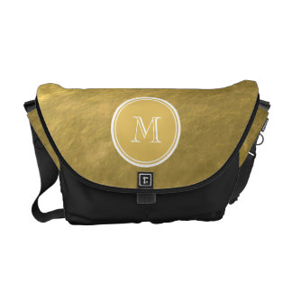 Glamour Gold Foil Background Monogram Courier Bags