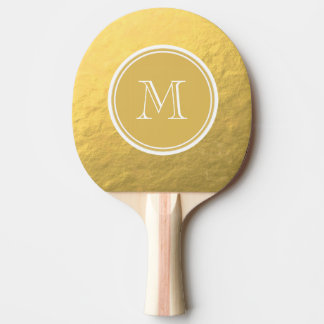 Glamour Gold Foil Background Monogram Ping Pong Paddle