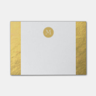 Glamour Gold Foil Background Monogram Post-it Notes