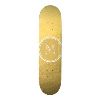 Glamour Gold Foil Background Monogram Skateboard