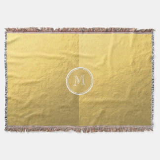 Glamour Gold Foil Background Monogram Throw Blanket
