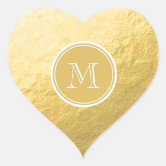 Glamour Gold Foil Background Monogram Wedding Heart Stickers