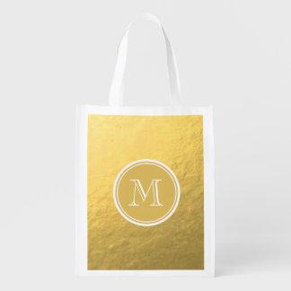 Glamour Gold Foil Background Monogram Market Totes