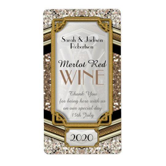 Glamour Gold Sparkler Wine Bottle Labels | 2x3.75""