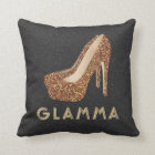 Glamour Grandma Glamma Gold Glitter High Heels Cushion