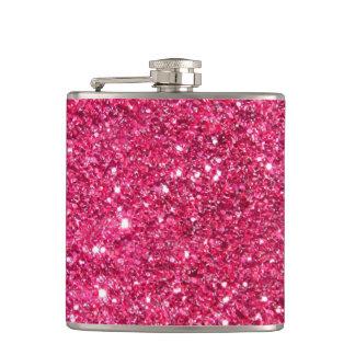 Glamour Hot Pink Glitter Hip Flasks