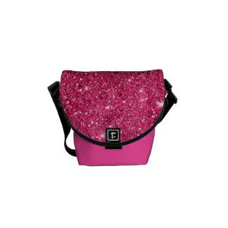 Glamour Hot Pink Glitter Messenger Bags