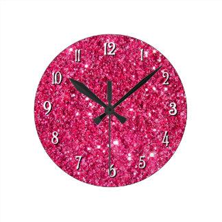 Glamour Hot Pink Glitter Round Clock