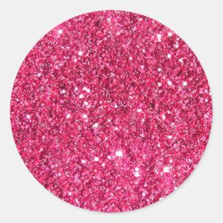 Glamour Hot Pink Glitter Round Sticker