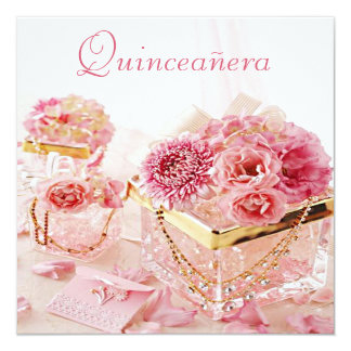 Glamour Jewels, Pink Flowers & Boxes Quinceanera 13 Cm X 13 Cm Square Invitation Card