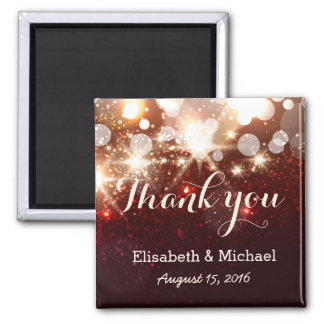 Glamour Luxury Gold Glitter Sparkles - Thank You Square Magnet