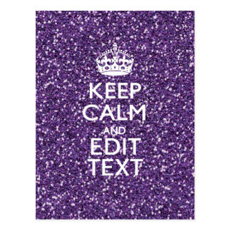 Glamour Purple Keep Calm Personalized Postcard