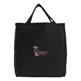Glamour Puss Embroidered Tote Bag