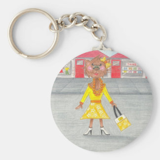 Glamour Puss out Shopping Basic Round Button Key Ring