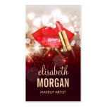 Glamour Red Lips Gold Glitter Sparkle Makeup Pack Of Standard Business Cards