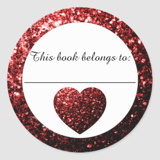 Glamour Red sparkles Heart Bookplate Sticker