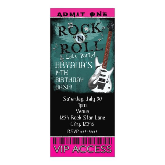Glamour Rock N Roll Star Birthday Ticket VIP