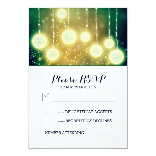 glamour string light lanterns wedding RSVP cards