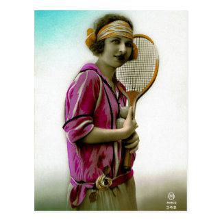 Glamour Tennis Flapper 1920's Vintage Postcard