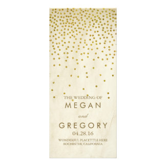 Glamour Vintage Gold Confetti Wedding Programs Rack Card