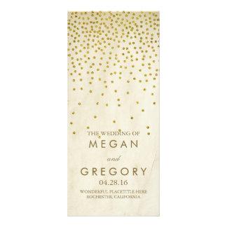 Glamour Vintage Gold Confetti Wedding Programs Rack Card