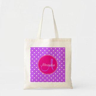 Glamour violet polka dot monogram initial name tote bag