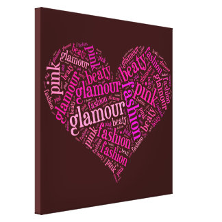 Glamour word cloud stretched canvas prints