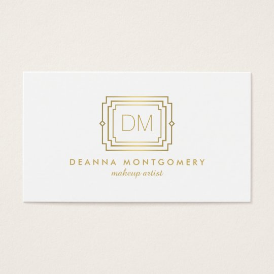 Glamourous Art Deco White/Gold Beauty Makeup Business Card