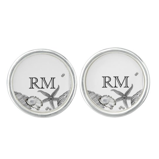 Glamourous Beach in Silver Wedding Cuff Links