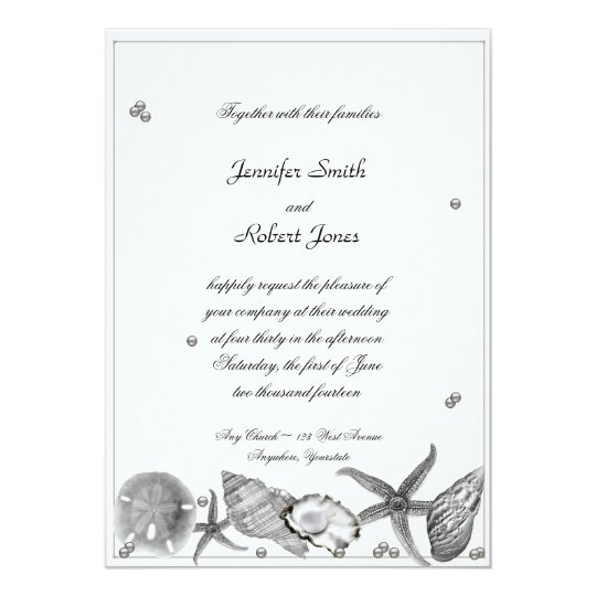 Glamourous Beach in Silver Wedding Invitation