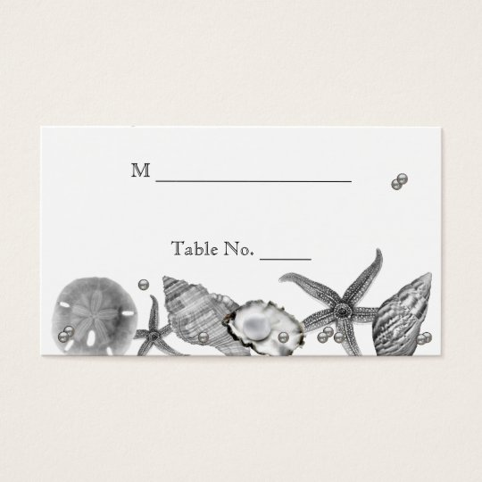 Glamourous Beach in Silver Wedding Place Cards