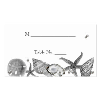 Glamourous Beach in Silver Wedding Place Cards Business Cards