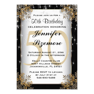 Glamourous Birthday Template - 50th Birthday Card